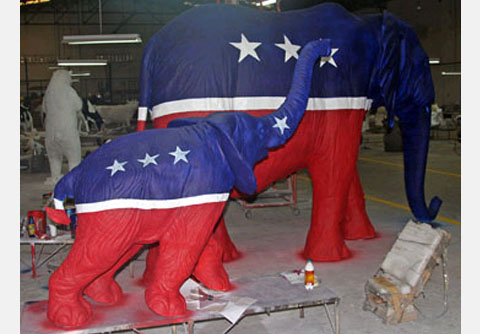 Copyrighted Custom Republican Baby and Adult Elephant