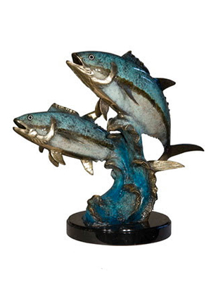 NEW Bronze Fish on Wave