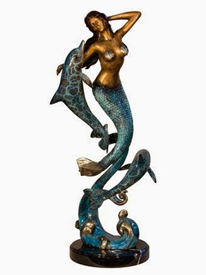 Bronze Mermaid with Dolphins