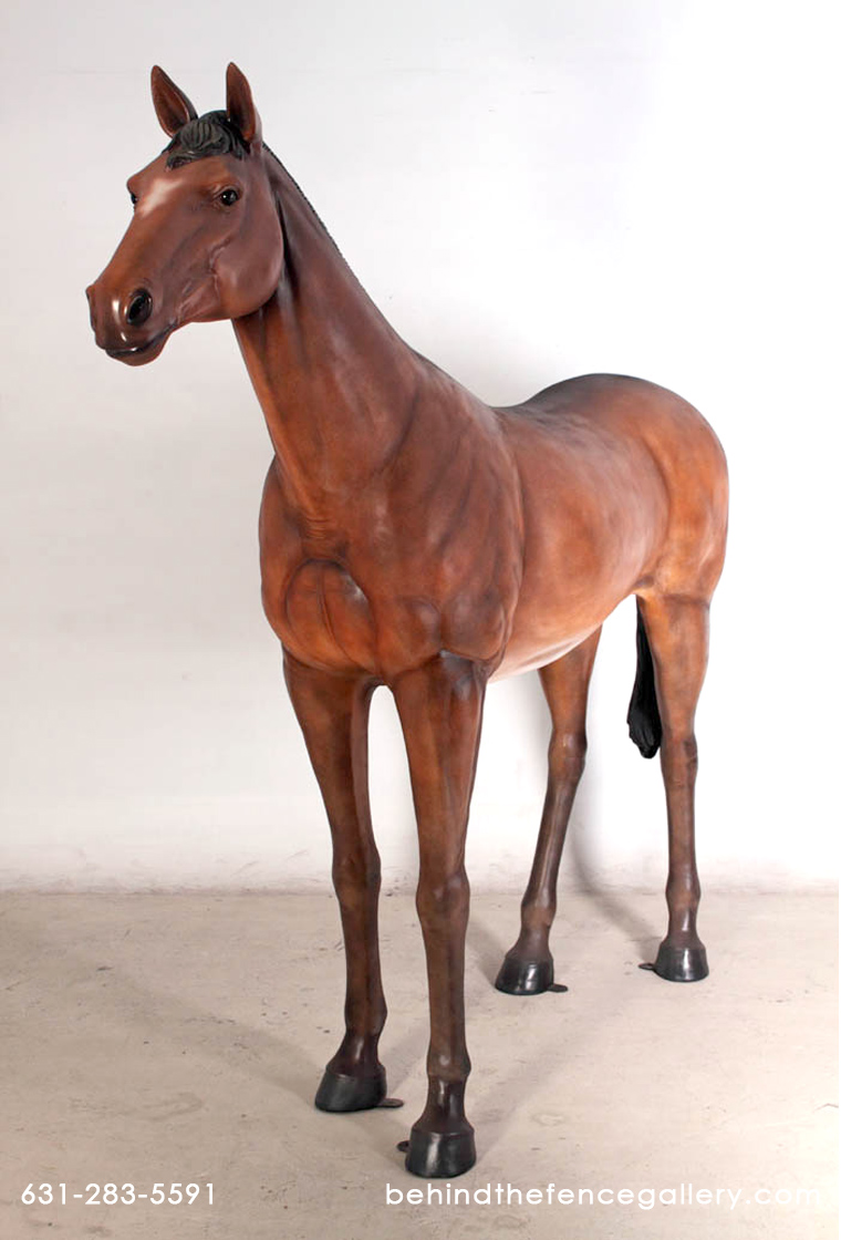 Standing Horse Statue in Chestnut Finish