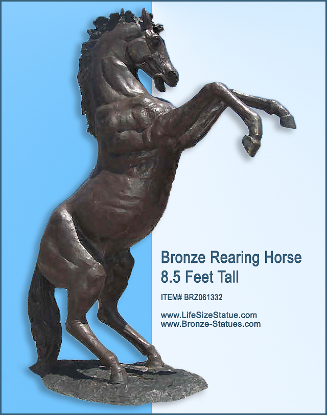 Bronze Rearing Horse 8 1/2 Feet Tall