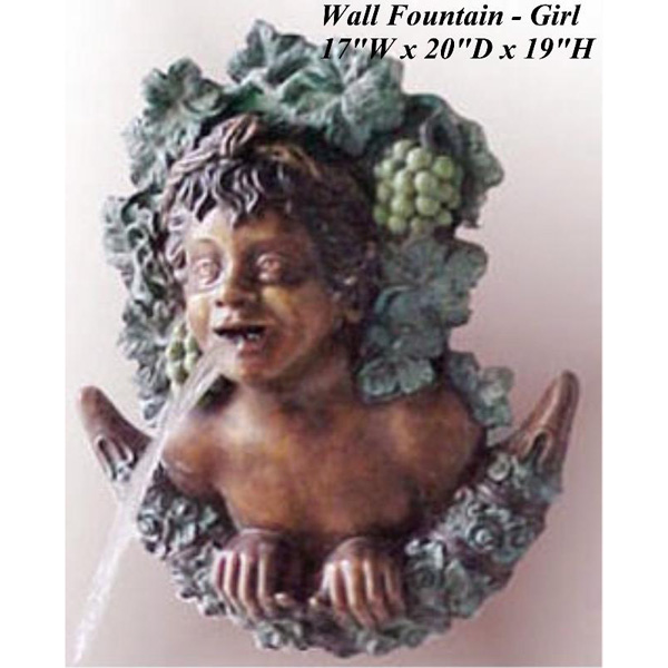 Bronze Girl Wall Fountain