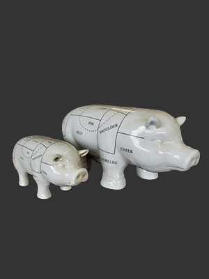 Porcelain Butchers Cow Statue